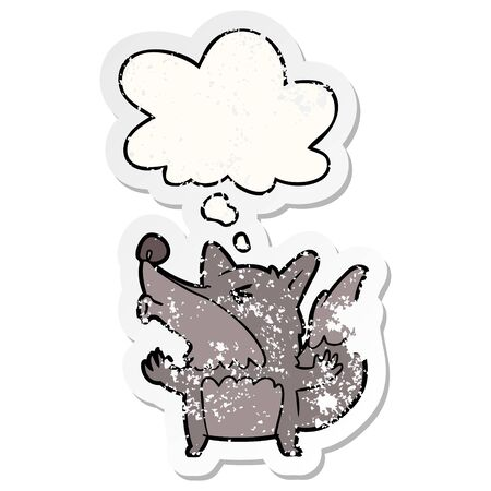 cartoon werewolf howling with thought bubble as a distressed worn sticker