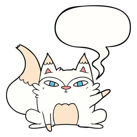 cartoon arctic fox with speech bubble
