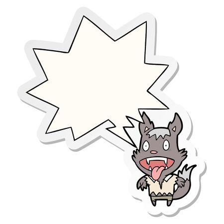 caricatura, halloween, hombre lobo, con, discurso, burbuja, pegatina Ilustración de vector
