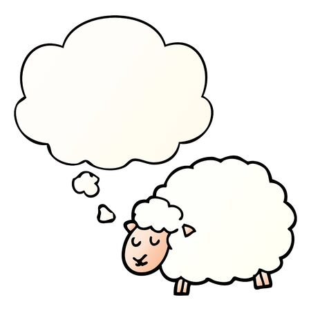 cartoon sheep with thought bubble in smooth gradient style