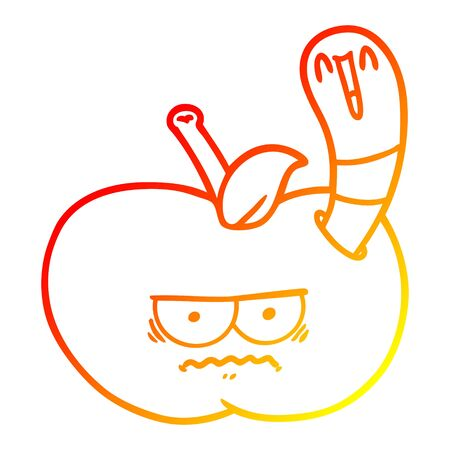 warm gradient line drawing of a cartoon worm eating an angry apple