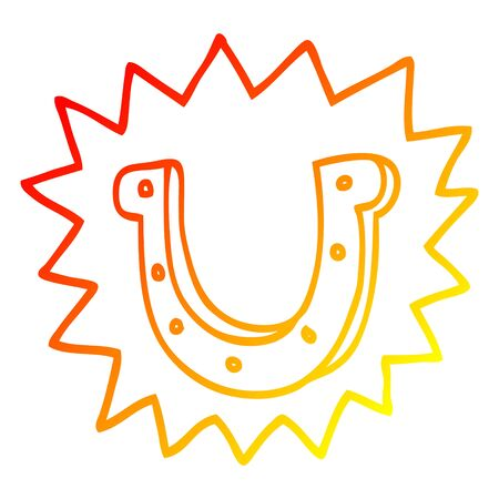warm gradient line drawing of a cartoon lucky horseshoe