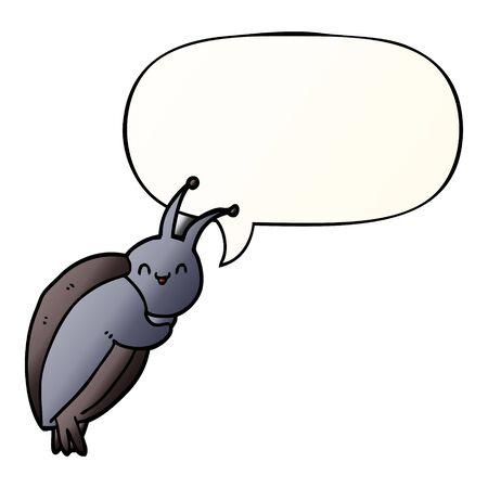 cute cartoon beetle with speech bubble in smooth gradient style Foto de archivo - 130348040