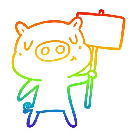 rainbow gradient line drawing of a cartoon content pig signpost;sign