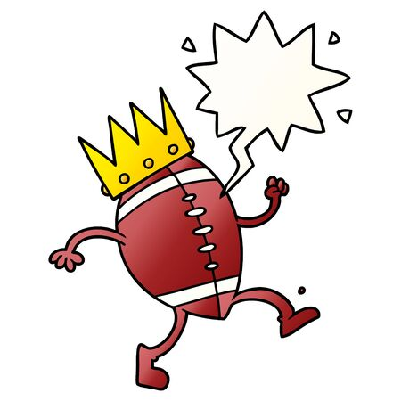 football with crown cartoon with speech bubble in smooth gradient style