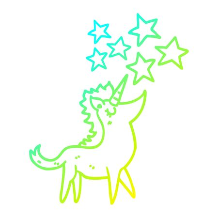 cold gradient line drawing of a cartoon unicorn