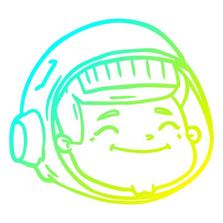 cold gradient line drawing of a cartoon astronaut face Illustration