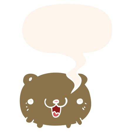 funny cartoon bear with speech bubble in retro style