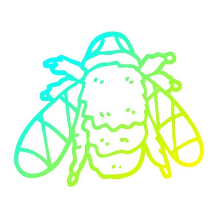 cold gradient line drawing of a cartoon bee