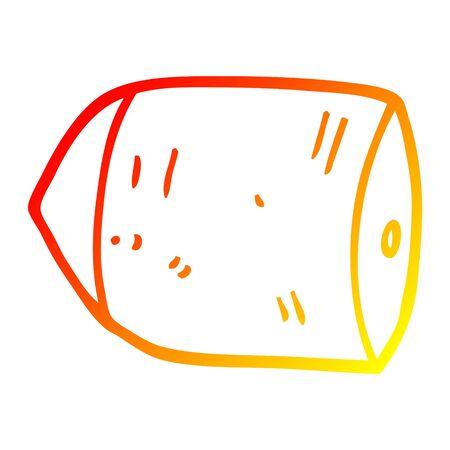 warm gradient line drawing of a cartoon bullet 向量圖像