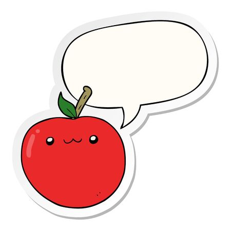 cartoon cute apple with speech bubble sticker