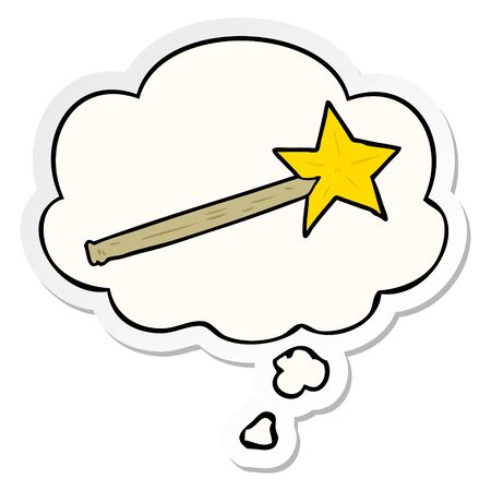cartoon magic wand with thought bubble as a printed sticker