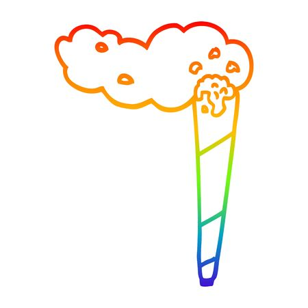 rainbow gradient line drawing of a cartoon joint