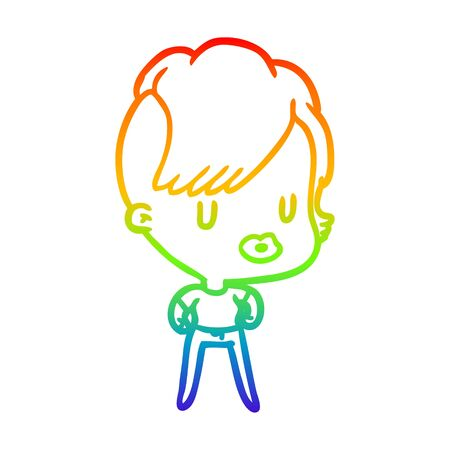 rainbow gradient line drawing of a girl with punk hipster haircut