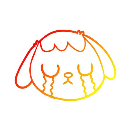 warm gradient line drawing of a cartoon dog face crying