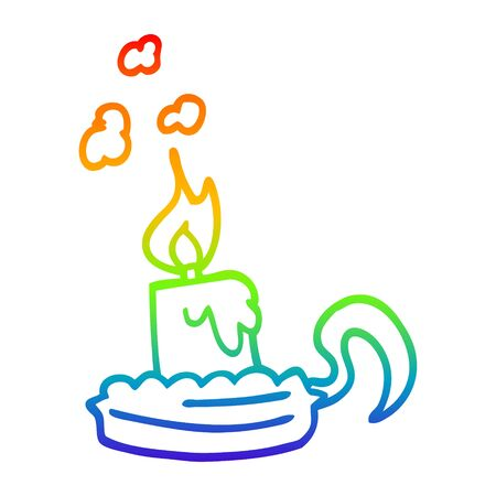 rainbow gradient line drawing of a cartoon candle in candleholder