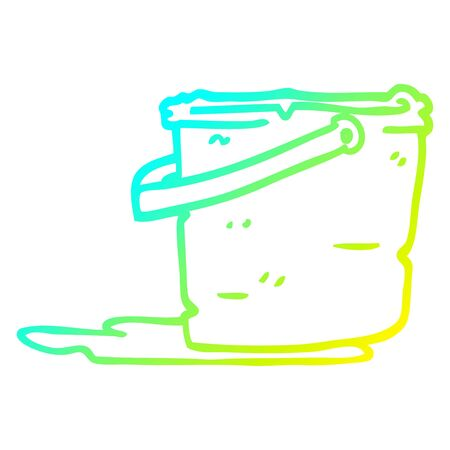 cold gradient line drawing of a cartoon bucket Illustration