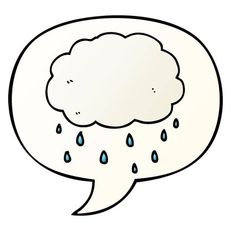 cartoon rain cloud with speech bubble in smooth gradient style