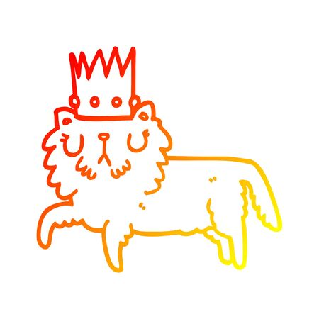 warm gradient line drawing of a cartoon cat wearing crown  イラスト・ベクター素材