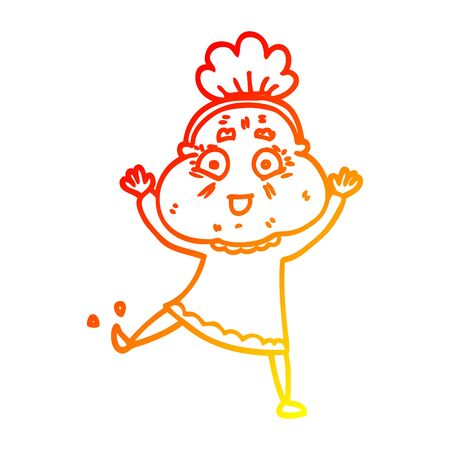 warm gradient line drawing of a cartoon happy old woman