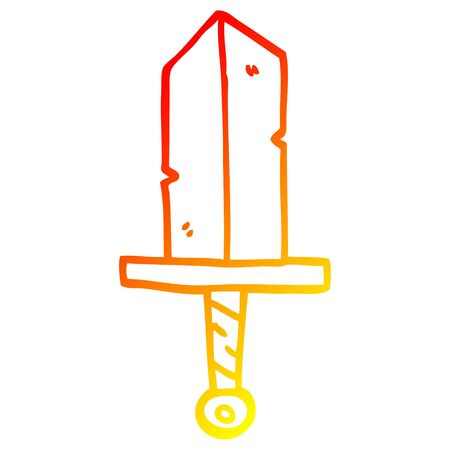 warm gradient line drawing of a cartoon dagger Иллюстрация