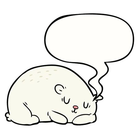 cartoon sleepy polar bear with speech bubble