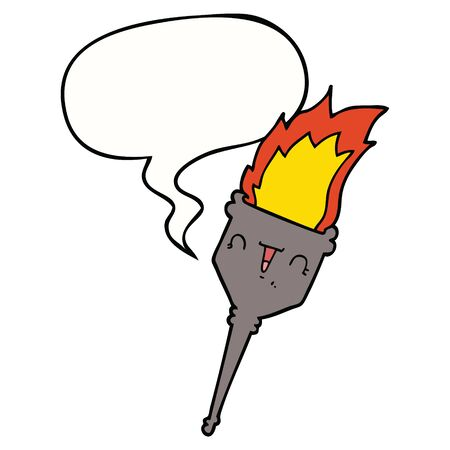 cartoon flaming chalice with speech bubble