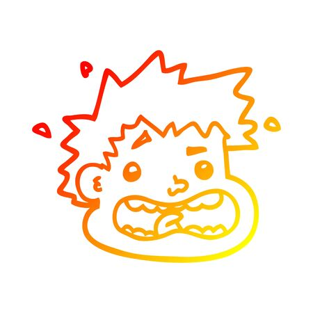 warm gradient line drawing of a cartoon frightened face Illustration