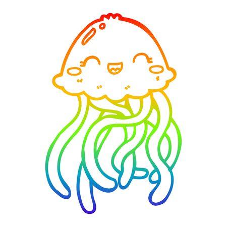rainbow gradient line drawing of a cute cartoon jellyfish