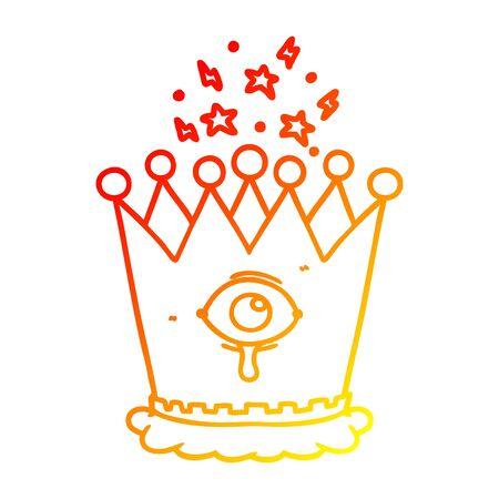 warm gradient line drawing of a cartoon magic crown Illustration