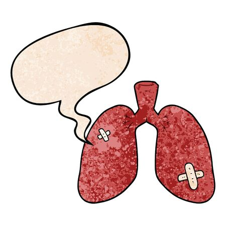 cartoon repaired lungs with speech bubble in retro texture style