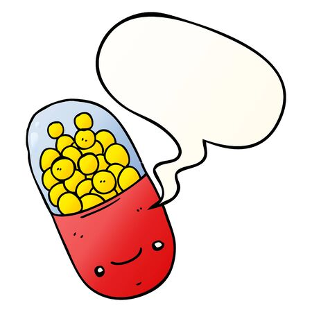 cartoon pill with speech bubble in smooth gradient style