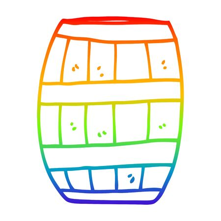 rainbow gradient line drawing of a cartoon beer barrel