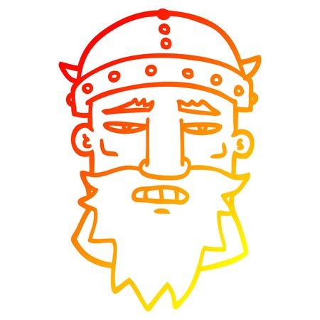 warm gradient line drawing of a cartoon viking face