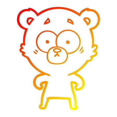 warm gradient line drawing of a surprised bear cartoon