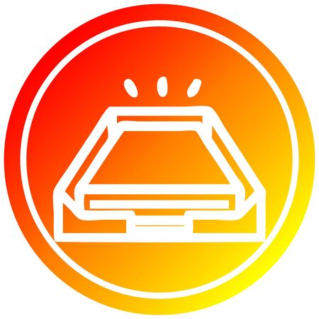 low office paper stack circular icon with warm gradient finish 向量圖像