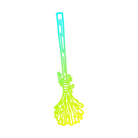 cold gradient line drawing of a cartoon magic broom sticks