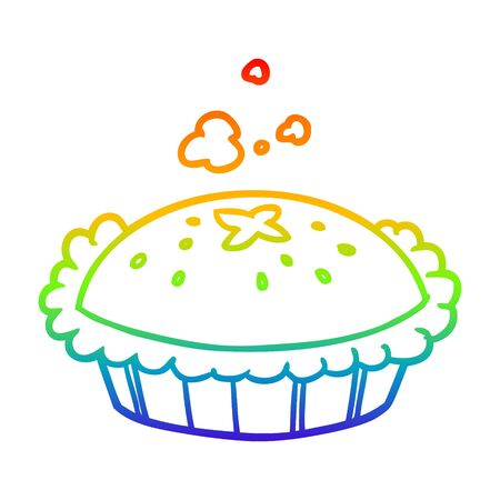 rainbow gradient line drawing of a hot pie fresh out of the oven