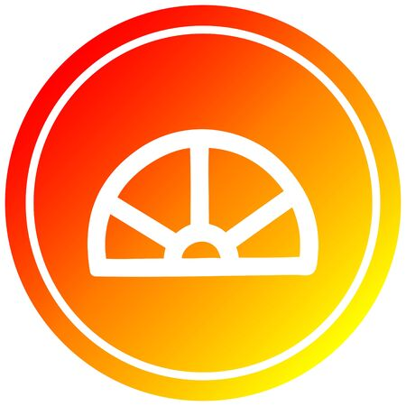 protractor math equipment circular icon with warm gradient finish