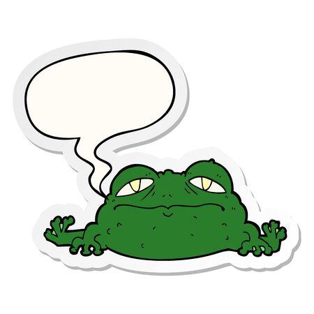 cartoon ugly frog with speech bubble sticker Ilustração