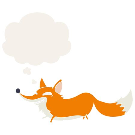 cartoon sly fox with thought bubble in retro style Illustration