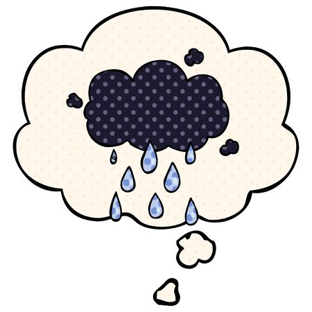 cartoon cloud raining with thought bubble in comic book style
