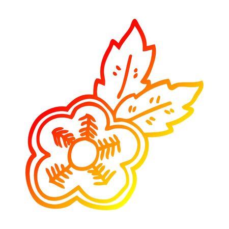 warm gradient line drawing of a cartoon rose tattoo symbol Stock Vector - 130349255