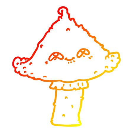 warm gradient line drawing of a cartoon mushroom with face