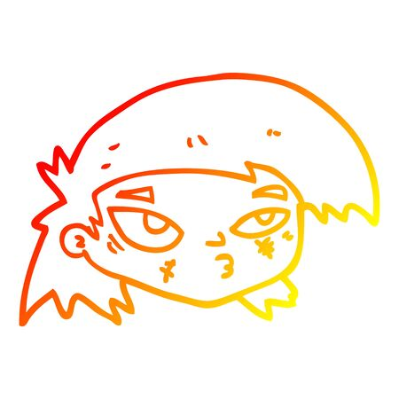 warm gradient line drawing of a cartoon scratched up face