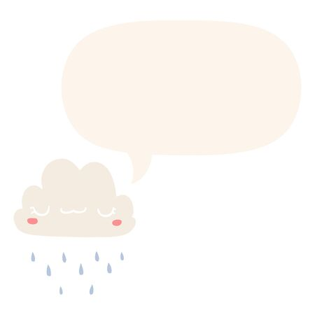 cartoon storm cloud with speech bubble in retro style Иллюстрация