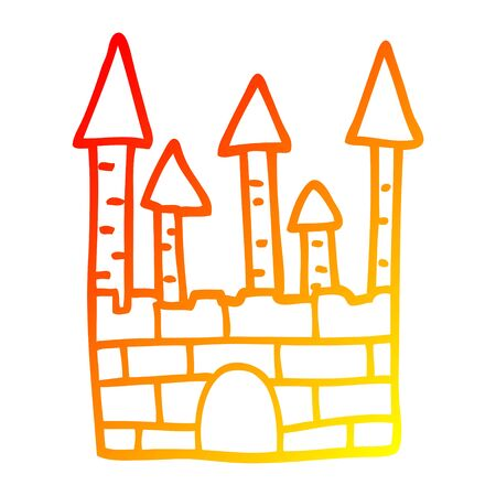 warm gradient line drawing of a cartoon traditional castle Illustration
