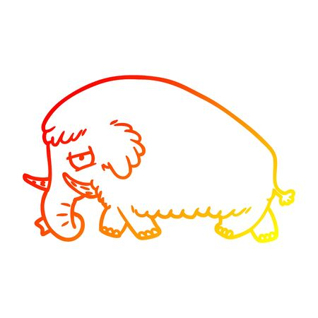 warm gradient line drawing of a cartoon mammoth