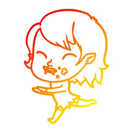 warm gradient line drawing of a cartoon vampire girl with blood on cheek