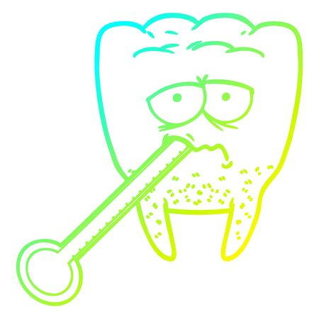 cold gradient line drawing of a cartoon unhealthy tooth